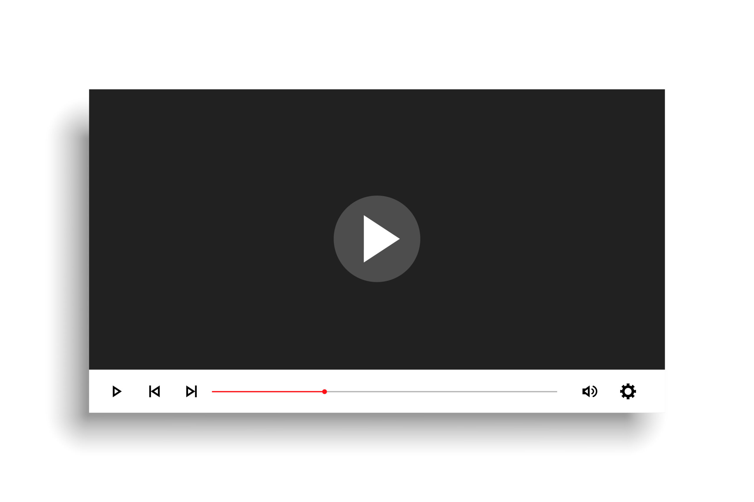 minimal white style video player mockup template design